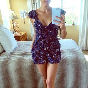 Blue Floral Romper Small New w/ Pockets